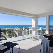 View of the beach from the terrace Beach holiday home rentals.