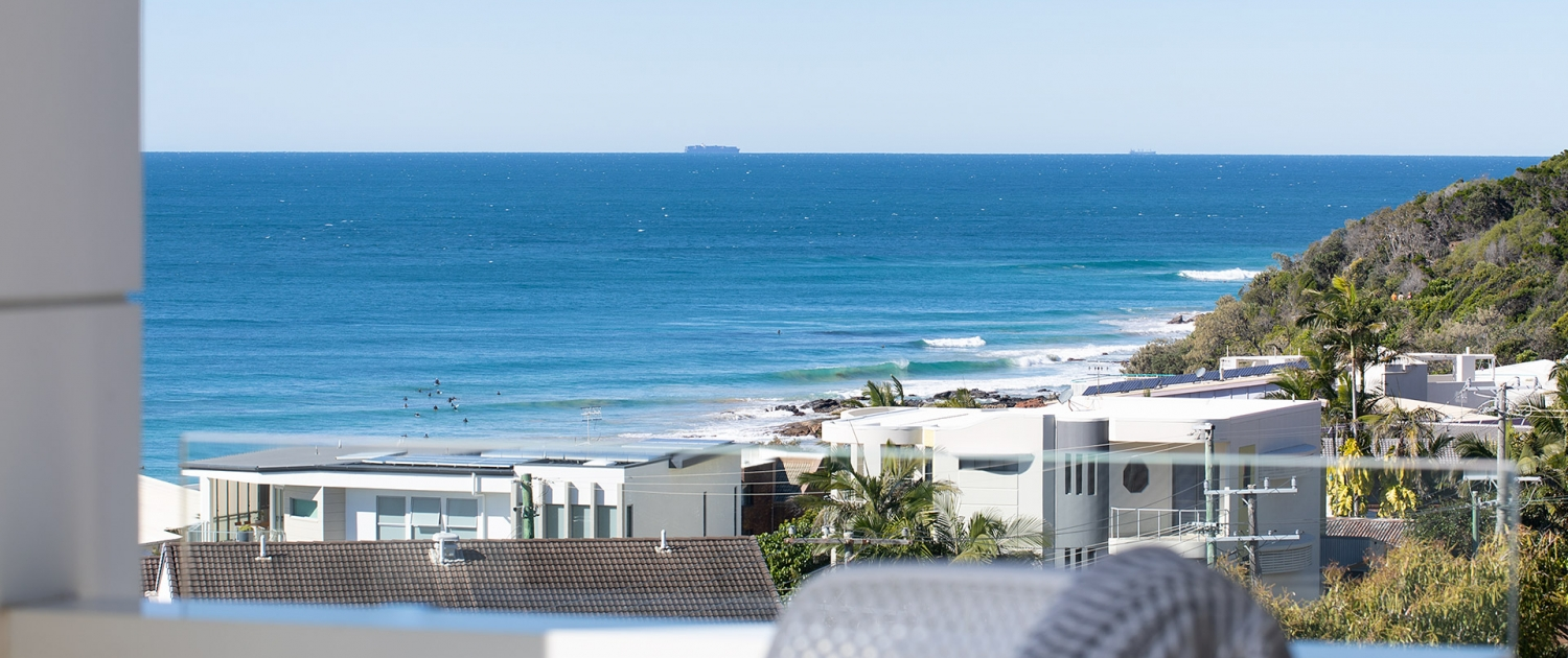 overview of the beach from one of the house balconies