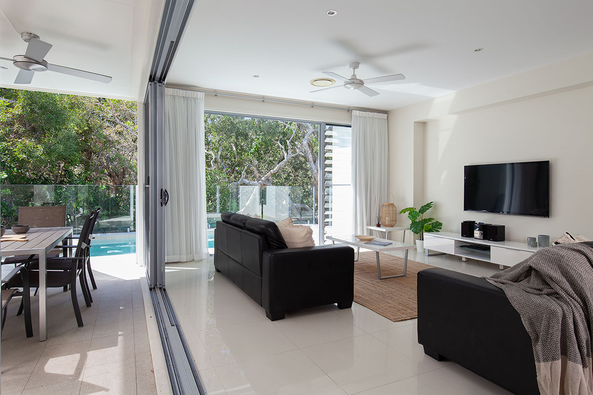 Living area at Beach Wave House | Sunshine Coast Holiday Homes