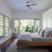 Sideview of verandah bedroom at the Three Three Beach Bungalow holiday home.