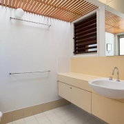 bathroom with yellow and white tones | Prestige Holiday Homes