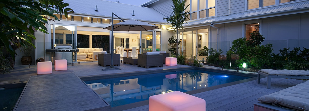 Outdoor entertainment area and pool at White Sands Beach House | Sunshine Coast Holiday Homes