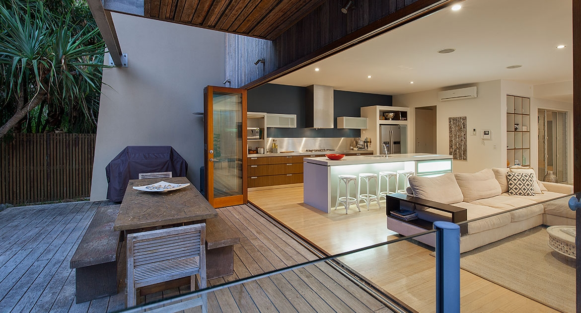 Kitchen, living and outdoor dining at the Dunes | Sunshine Coast Holiday Homes