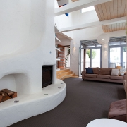 Living room with fireplace | Saltwater Beach House