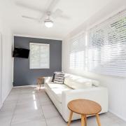 Side of house lounge area at Bellavita Mudjimba Beach holiday home.