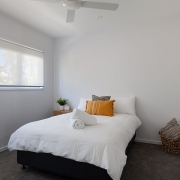 Double bed with tv at Sea Renity Coolum Beach | Sunshine Coast Holiday Homes