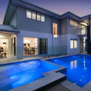 Outdoor pool night time at Sea Renity Coolum Beach | Sunshine Coast Holiday Homes