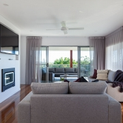 Living room expanding to outdoor area at Sea Renity Coolum Beach | Sunshine Coast Holiday Homes