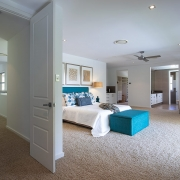 2nd floor wide view of master bedroom and all its features at Whitehaven Beach House Coolum holiday homes.