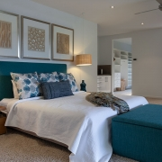 Master bedroom showing ensuite and walk in wardrobe at Whitehaven Beach House Coolum holiday homes.