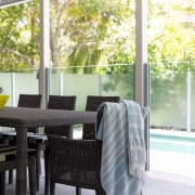 Outdoor entertaining area at Whitehaven Beach House Coolum holiday homes.
