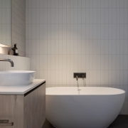 Designer bathroom at Thalassa Beachfront Penthouse Coolum holiday homes.