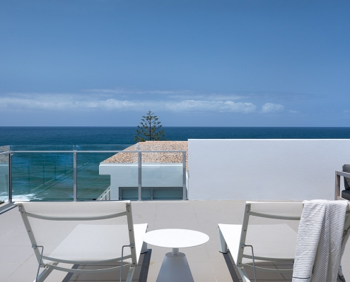 Beautiful ocean view from outdoor terrace at Thalassa Beachfront Penthouse Coolum holiday homes.