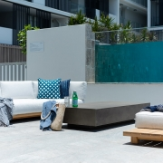 Outdoor lounge area at Thalassa Beachfront Penthouse Coolum holiday homes.