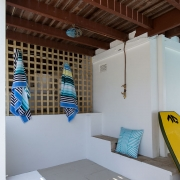 Outdoor shower at The Pool House Coolum Beach holiday home rentals.