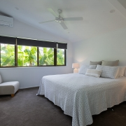 Bedroom side view at The Pool House Coolum Beach holiday home rentals.