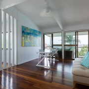 Lounge and entertaining area on the 2nd floor at The Pool House Coolum Beach holiday home rentals.