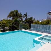 Edge pool at The Pool House Coolum Beach holiday home rentals.