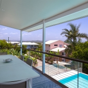 Balcony deck at The Pool House Coolum Beach holiday home rentals.