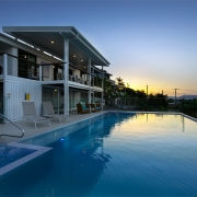 Pool and spa at The Pool House Coolum Beach holiday home rentals.