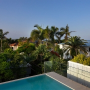 View from edge pool at The Pool House Coolum Beach holiday home rentals.