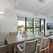 Dining area at The Pool House Coolum Beach holiday home rentals.