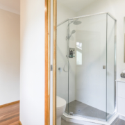 Closeup of shower room near kids bedroom at Coolum Beach Bare Feet Retreat Holiday Home.