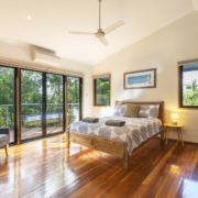 Front view of bedroom at at Coolum Beach Bare Feet Retreat Holiday Home.