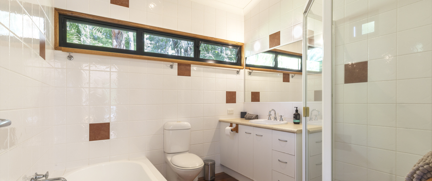 Bathroom at Coolum Beach Bare Feet Retreat Holiday Home.