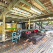 Under house entertaining area at at Coolum Beach Bare Feet Retreat Holiday Home.